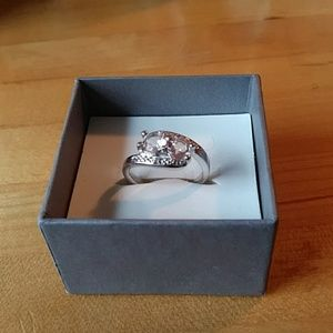 Morganite and diamond ring in sterling